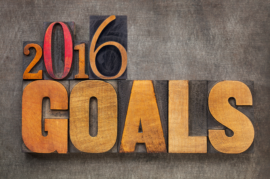 2016 goals – New Year resolution concept – text in vintage lette