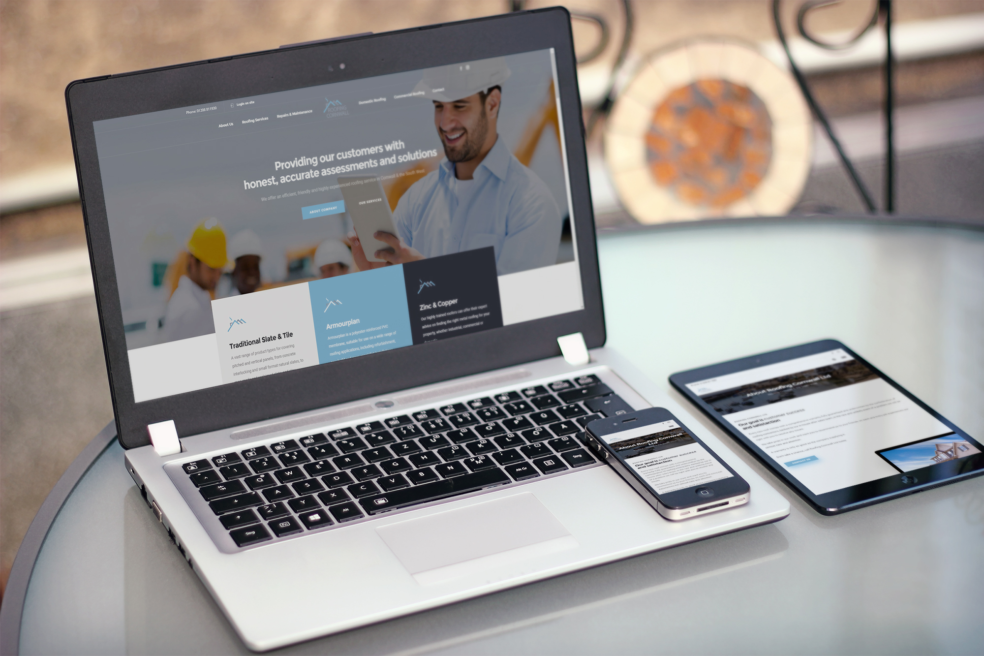 Roofing Cornwall Website Development by Trait Media Ltd